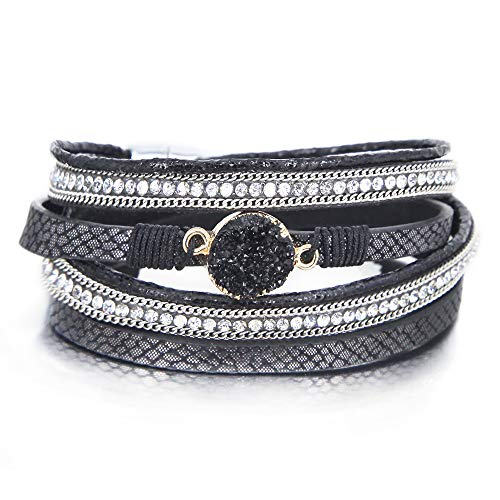 - Black 2 Wrap Bracelet Boho Jewelry Cuff Bracelet Crystal Bead Bracelet Rhinestone Handmade Bangle Braided Magnetic Clasp Bracelet Multi Strand Bracelet for Women Girl