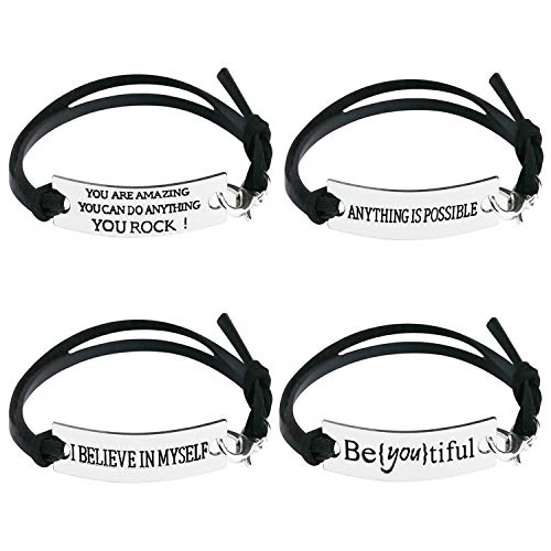 """4x Leather Bracelet""""Beyoutiful Beautiful""""""""I BELIEVE IN MYSEL""""""""ANYTHING IS POSSIBLE""""""""YOU ARE AMAZING"""" Fashion Silver Plated Ornaments Motivational Inspirational Words Message Black"""