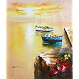 Oil painting 'Two Small Boat Tied up at the Wharf' printing on high quality polyster Canvas , 16x19 inch / 41x48 cm ,the best gift for bf and gf and Home decor and Gifts is this High Resolution Art Decorative Canvas Prints