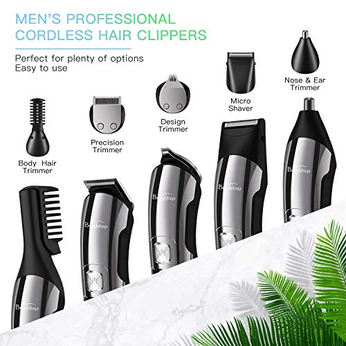 Brightup Beard Trimmer Kit, Hair Clippers for Men, Cordless Body Mustache Nose Ear Facial Hair Cutting Groomer, Precision Trimmer 11 in 1 Grooming Kit Waterproof USB Rechargeable & LED Display