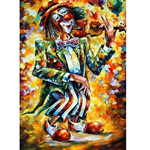 MXJSUA 5D Diamond Painting Full Round Drill Kits for Adults Pasted Embroidery Cross Stitch Arts Craft for Home Wall Decor Clown Playing The Violin 12x16in