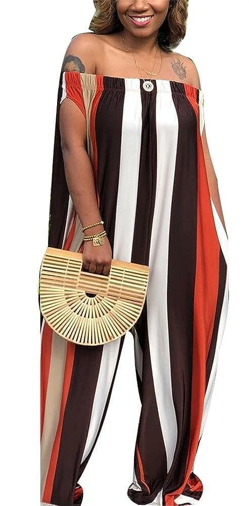 ddcbbd8a840 Amazon.com  LKOUS Women s Summer Stripe Off Shoulder Loose Wide Leg Palazzo Pants  Jumpsuits One Piece Romper Overalls Clubwear  Clothing