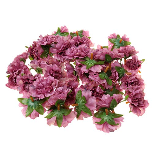 50pcs Artificial Silk Peony Bridal Flower Heads for Clips Wedding Purple -