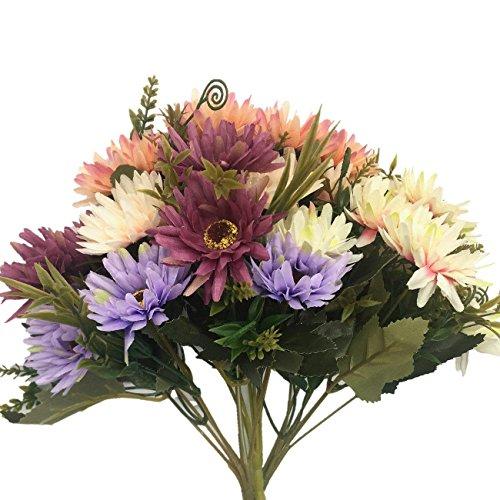 Artificial Chrysanthemum Flowers, Vintage Silk Herbaceous Daisy Fake Sunflowers Bouquet Home Bridal Wedding Hotel Office Party Garden Centerpieces Arrangements Simulation Decoration Mixed color 3pcs -