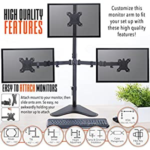 Stand Steady Monitor Arm | Height Adjustable with Full Articulation | VESA Mount Fits Most LCD / LED Monitors 13 - 32 Inches (3 Monitors) (Three Monitor Free Standing)