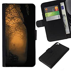 All Phone Most Case / Oferta Especial Cáscara Funda de cuero Monedero Cubierta de proteccion Caso / Wallet Case for HTC Desire 820 // Orange Glow Park Bench Romantic