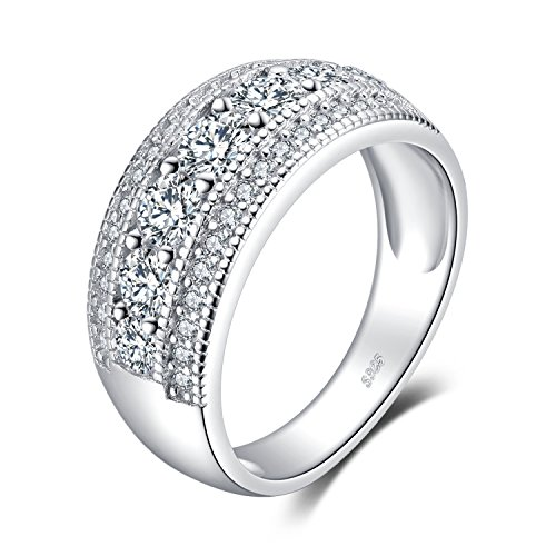 Art Deco Cocktail Rings - JewelryPalace Fashion 1.3ct Round Cubic Zirconia Cocktail Band Ring 925 Sterling Silver Size 6