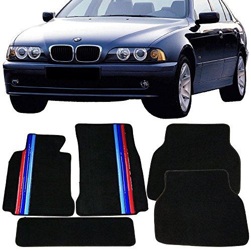 Floor Mat Fits 1997-2003 BMW E39 5-Series | Front & Rear OE M Color Stripe Car Floor Carpets Carpet liner by IKON MOTORSPORTS | 1998 1999 2000 2001 (Bmw 2002 2 Door Carpet)