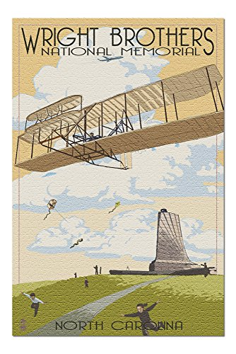 Memorial Wright Brothers Flight First (Outer Banks, North Carolina - Wright Brothers National Memorial (20x30 Premium 1000 Piece Jigsaw Puzzle, Made in USA!))