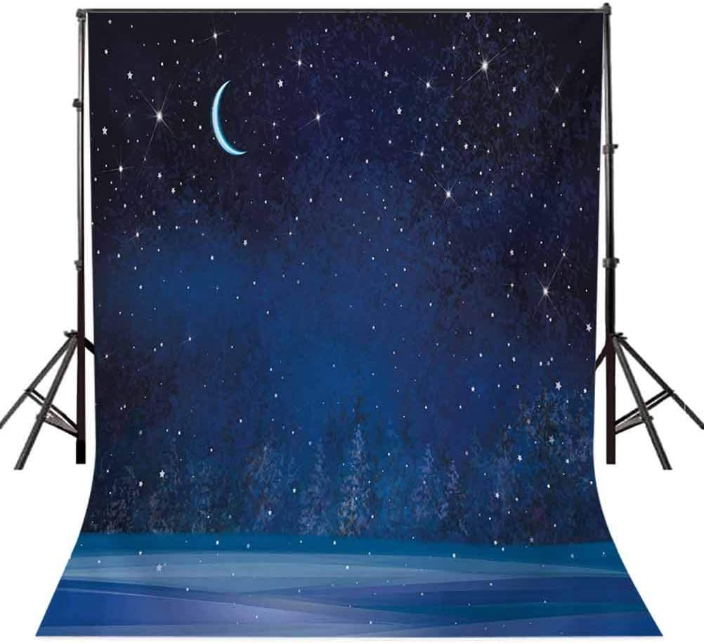 Night 6.5x10 FT Backdrop Photographers,Winter Wonderland at Night Snowy Woodland Magical Fantastic Forest Nature Scenery Background for Baby Birthday Party Wedding Vinyl Studio Props Photography
