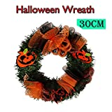 MSOO 30cm Halloween Large Wreath Door Wall Ornament Garland Decoration Pumpkin Skull (A 30cm)