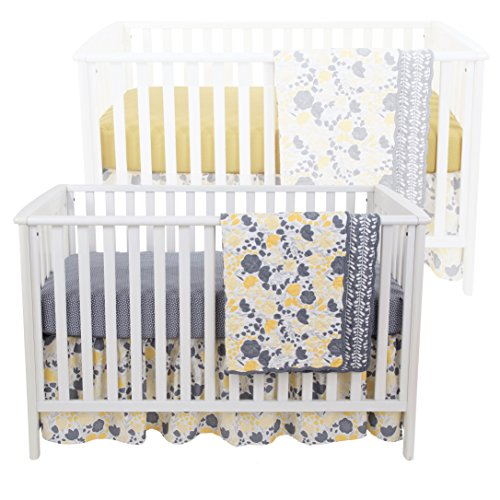 Yellow Crib Set (Yellow Tulip 4 Piece Baby Crib Bedding Set - Skirt, Coverlet and Two Sheets)