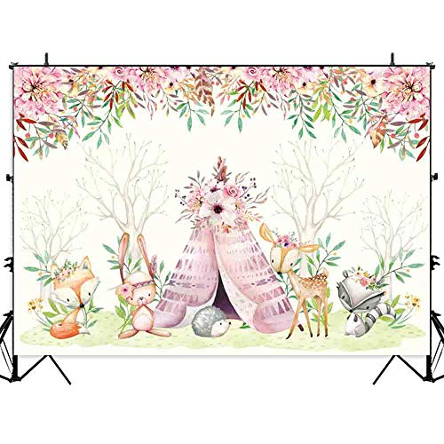 Allenjoy 7x5ft Boho Wild One Backdrop for Baby Shower Kids Birthday Party Cake Table Decor Banner Watercolor Safari Animals Pink Flowers Photography Background Photo Booth Props