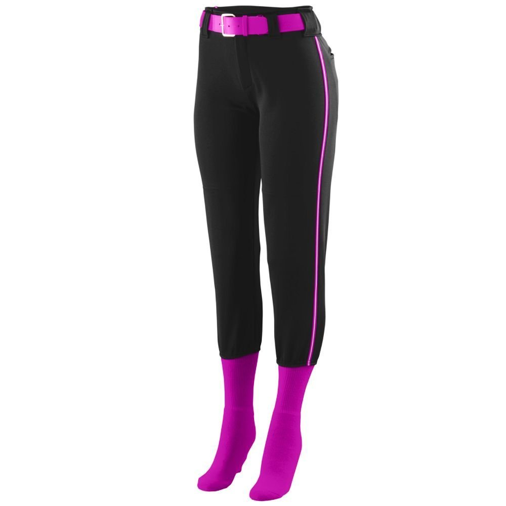 Augusta Sportswear Girls ' Collegiate Low Riseソフトボールパンツ B00GK5Q59Y Large|Black/Power Pink/White Black/Power Pink/White Large