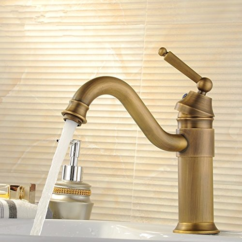 LHbox Ein Komplettes kontinentales Antik Kupfer Wasserhahn Warmes und Kaltes Waschtischmischer Einloch Retro Waschbecken Wasserhahn