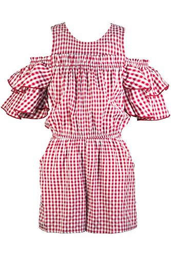 Truly Me, Big Girls' Designer Spring/Summer Cold Shoulder Romper with Ruffle Details, Size 7-16 (Red Gingham, 7) - Gingham Ruffle Pant