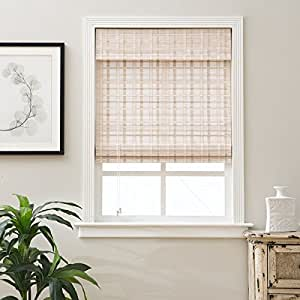 single piece 25 x 54 inch length white bamboo blinds With 25 inch roman shades