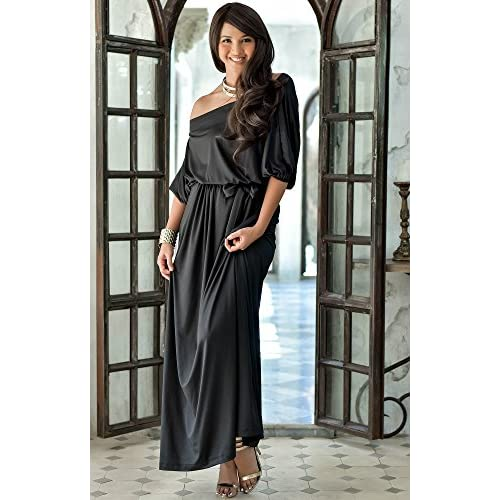 d22ef5421eab KOH KOH Womens Long Sexy One Shoulder Flowy Casual 3 4 Short Sleeve Maxi  Dress