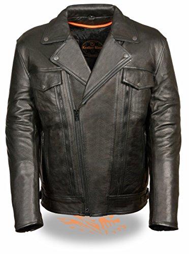 Leather King Men's Utility Pocket Motorcycle Jacket (Black, Medium)