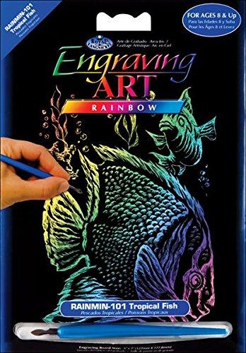 ROYAL BRUSH Mini Rainbow Foil Engraving Art Kit, 5 by 7-Inch, Tropical Fish RAIMIN-101