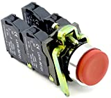Yuco YC-P22XTMO1-ER-22 Push Button Switch Extended Momentary 2NO/2NC Contact Blocks (Red)