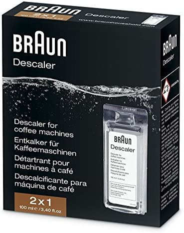 Braun Descaler, Universal Coffee & Espresso Machine Descaling Solution, 2-Pack (1 Verwendung Per Pack)