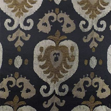 Amazon.com: Black/Brown Paisley Jacquard Chenille Home ...