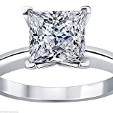 1.50 CT Princess brilliant Cut Simulated Diamond CZ Solitaire Engagement Wedding Ring 14k White Gold