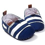 Ecosin Baby Blue Stripe Sneaker Anti-slip Soft Sole Toddler Prewalker (0-6months)