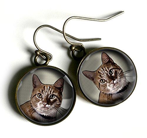 (Orange Striped Tabby Cat Earrings)