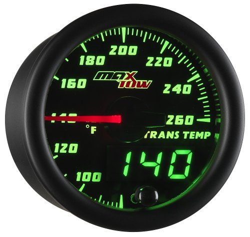 MaxTow Double Vision 260 F Transmission Temperature Gauge Kit - Includes Electronic Sensor - Black Gauge Face - Green LED Illuminated Dial - Analog & Digital Readouts - For Trucks - 2-1/16