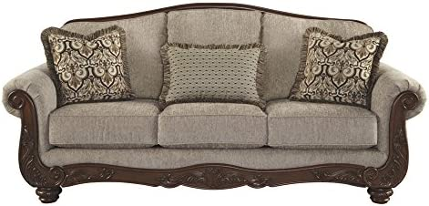 Ashley Furniture Signature Design - Cecilyn Traditional Style Rolled Arm  Sofa - Cocoa