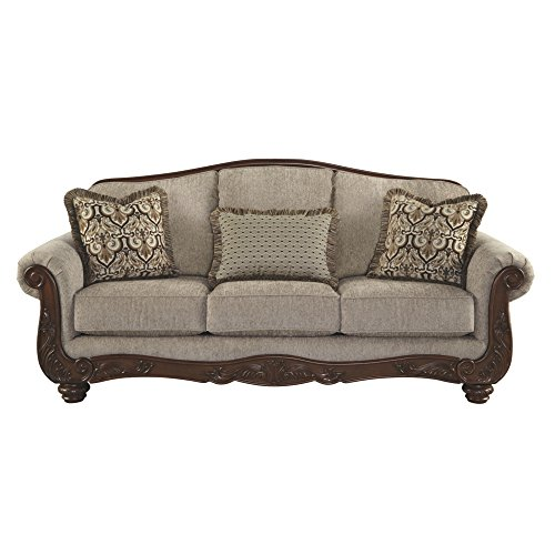 (Ashley Furniture Signature Design - Cecilyn Traditional Style Rolled Arm Sofa - Cocoa )