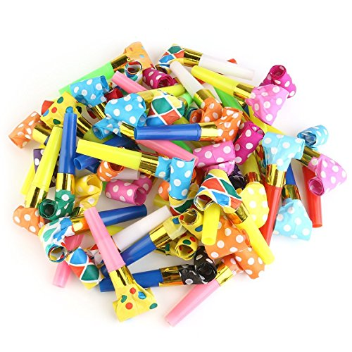 Music noisemakers Blowouts Whistles Toys for Birthday Party Favors, Christmas Party, Children Party, Halloween,Party Accessory, New Years Party,Fun Party Favors(50 Packs) -