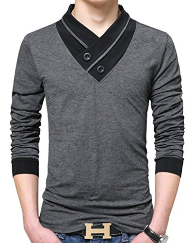 Nature Lovers Mens Long Sleeve T-Shirt Casual Tops Tee Classic Fit Basic Shirts C6562 Gray US L/Asian 4XL