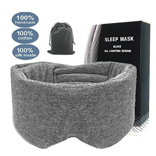 leeken 100% Handmade Cotton Sleep Mask, Eye Mask for Sleeping Adjustable Blinder Blindfold Airplane with Travel Pouch,Sleep mask for Women (Gray) -