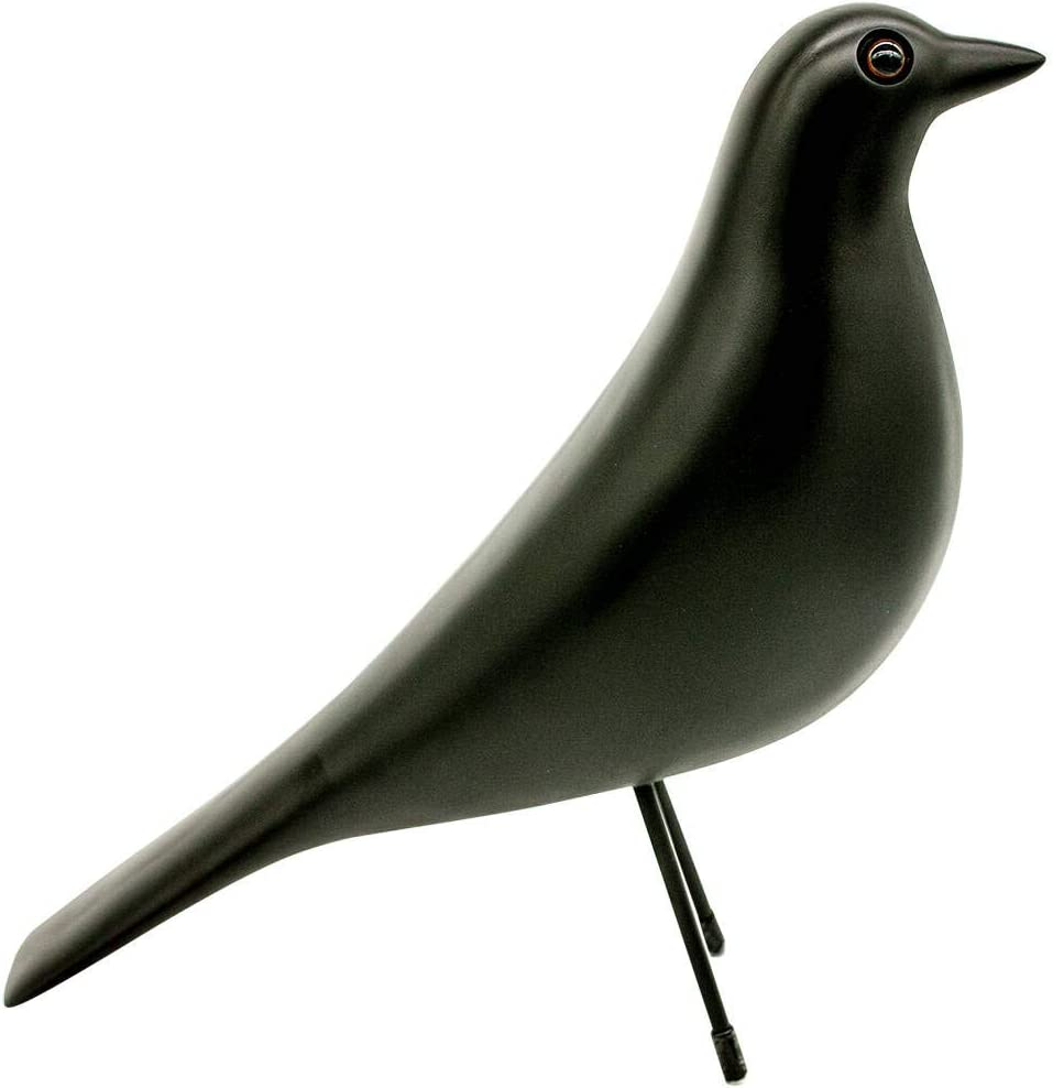 Eames House Bird, Mid Century Bird Adornment Office Home Decor, Desk Dove Ornament, Arts Pigeon Gifts. Eames Replica Sculpture (Black)