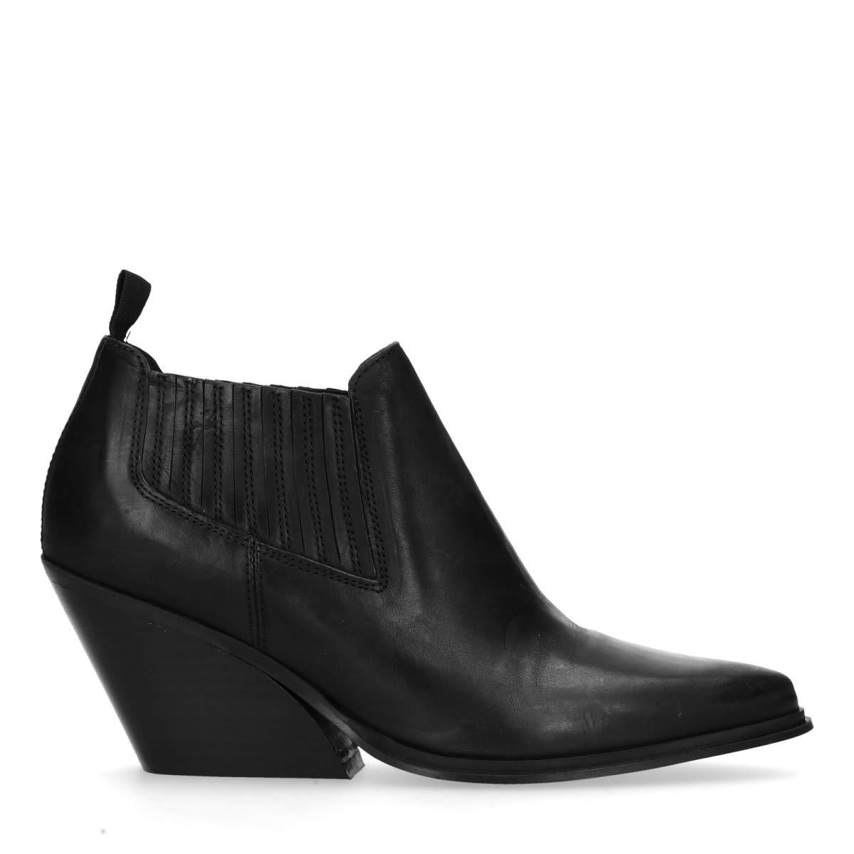 Schwarze Chelsea Stiefel mit Absatz Schwarz