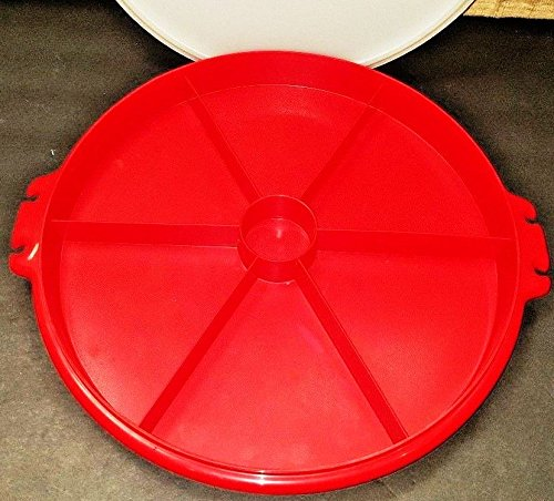 Vintage Tupperware Red 6 Sections Divided Tray,