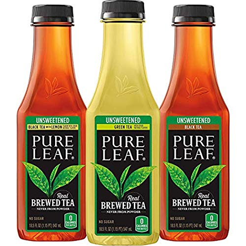 Pure Leaf Iced Tea, Unsweetened Variety Pack, Real Brewed Tea, 0 Calories, 18.5 Ounce Bottles (Unsweetened VP, 24 Pack)