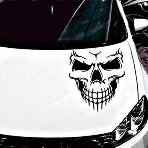 Ecosin Car Rules Decal Slammed Reflective Skull Car Truck Sticker JDM Racing Window Decal Funny Car Sticker (Black)