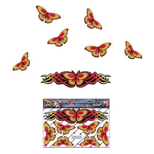 Papillon autocollant rouge pour petits caravanes pour bateaux et bateaux ST00021RD_SML - Autocollants JAS