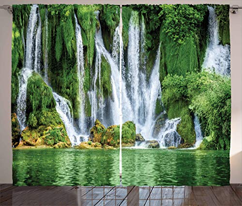 - Ambesonne Waterfall Decor Collection, Moss Greenery Reflection on River Landmark in Bosnia and Herzegovina Picture, Window Treatments, Living Room Curtain 2 Panels Set, 108 X 90 Inches, Green White