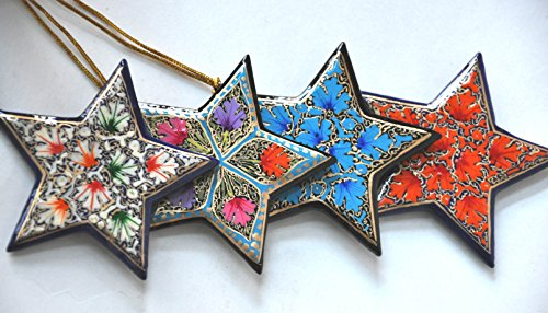 4-Pack of Christmas Tree Decorations - Hanging Star Decorations, Wood Christmas Ornaments, Festive Embellishments, Multicolored Handpainted Shatterproof Ornaments