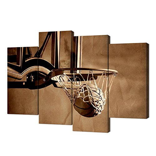 ramed Basketball Poster Artwork,Canvas Print Action Shot of Basketball Going Through Basketball Hoop and Net Picture Vintage Painting,Modern Kids Room Sports Wall Art ()