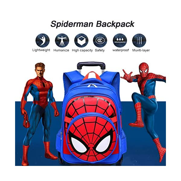 MODRYER I Bambini Spiderman Zaino Set, Studente Ruote Daypack Scuola Impermeabile Borse elementare Studenti Zaino… 4 spesavip