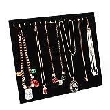 Homanda Black Velvet 17 Hook Necklace Jewelry Tray Display Organizer