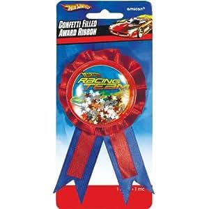 "Amscan Hot Wheels Speed City 6"" x 3-3/4"" Award Ribbon with Confetti"