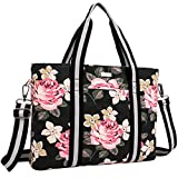 Mosiso Laptop Tote Bag (Up to 17.3 Inch), Canvas Classic Rose Multifunctional Work Travel Shopping Duffel Carrying Shoulder Handbag for Notebook, MacBook, Ultrabook and Chromebook Computers, Black