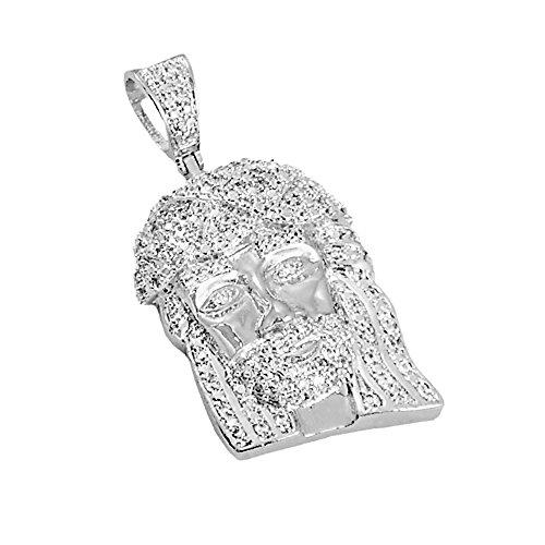 Mens Silver-Tone Iced Out Cubic Zirconia Mini Twist Cuban Crown Jesus Head Pendant Charm